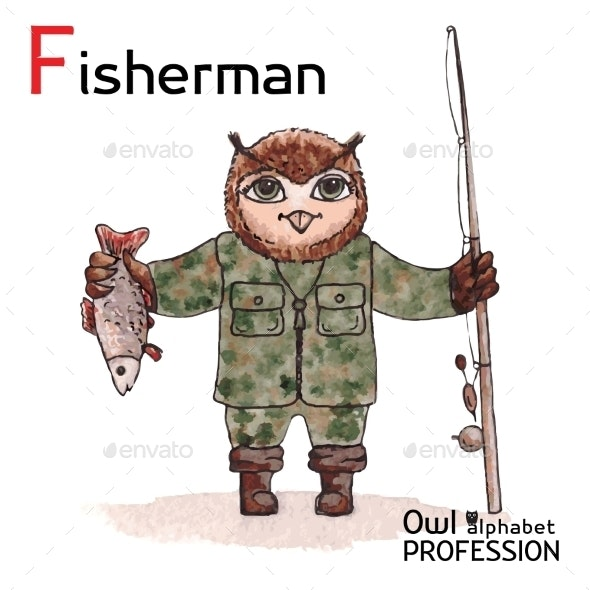 Alphabet Professions Owl Letter F - Fisherman - Animals Characters