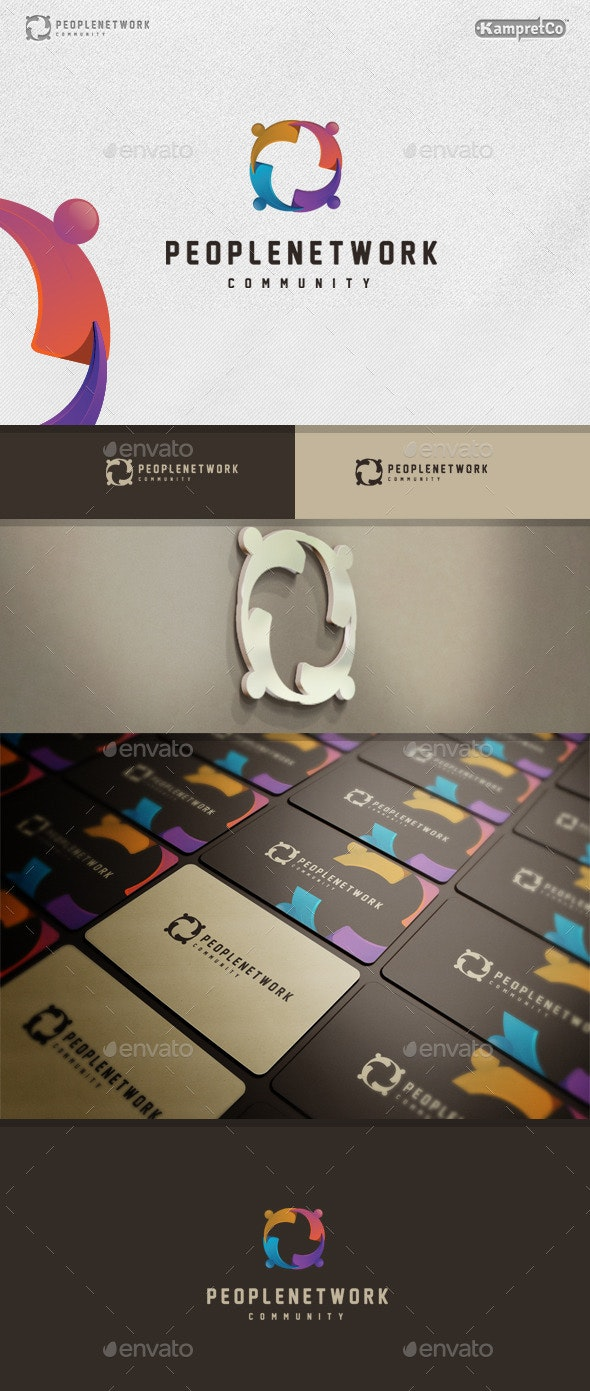 People Networking Logo - 3d Abstract