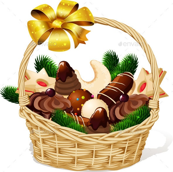 Christmas Still Life with Basket Full of Cookies - Food Objects