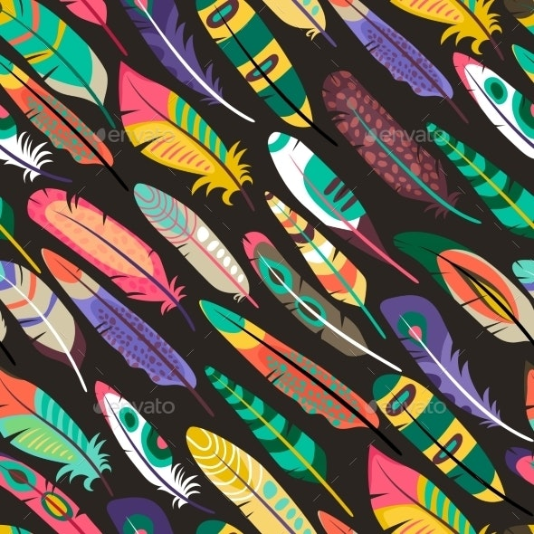 Colorful Seamless Pattern with Feathers - Patterns Decorative