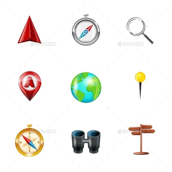Navigation Icons Realistic Set - Technology Conceptual