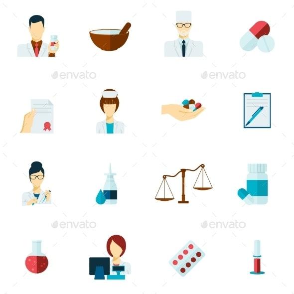 Pharmacist Icon Set - Health/Medicine Conceptual