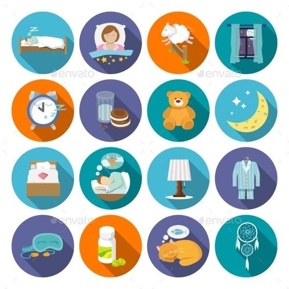 Sleep Time Icons Flat - Web Elements Vectors