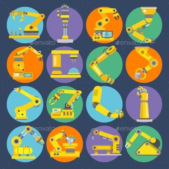 Robotic Arm Icons - Web Elements Vectors