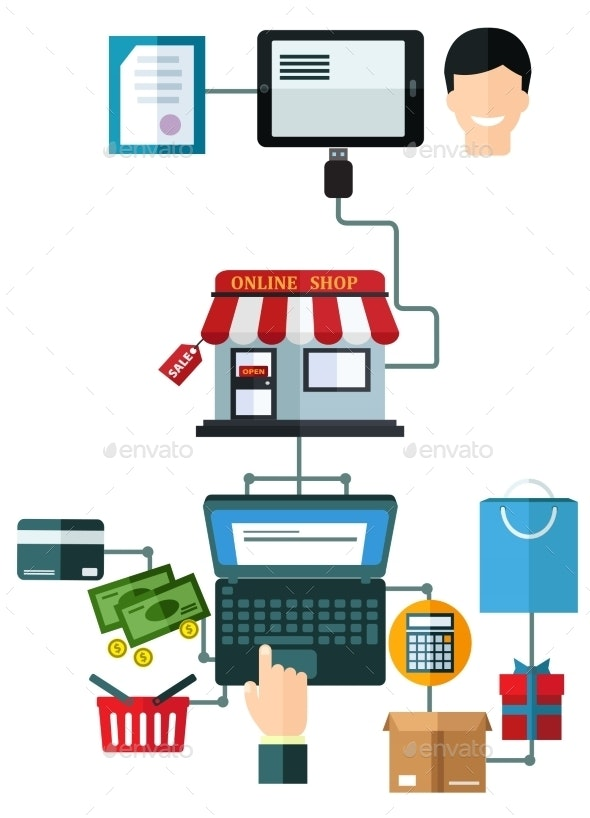 Online Shopping Flat Concept - Retail Commercial / Shopping