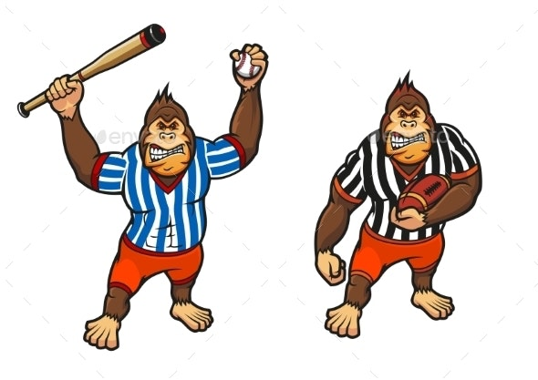 Cartoon Gorilla Playing Baseball and Rugby - Sports/Activity Conceptual