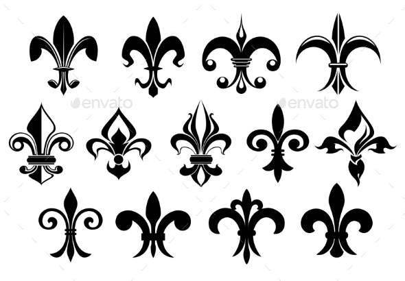 Fleur De Lys Vintage Design Elements - Decorative Symbols Decorative