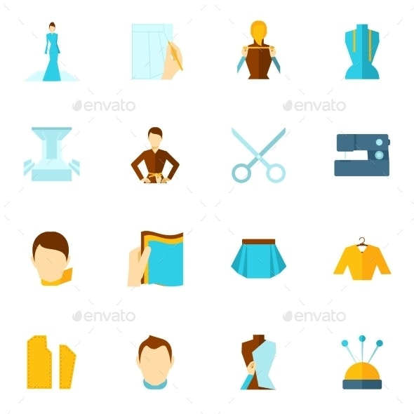 Clothes Designer Icon Flat - Objects Icons
