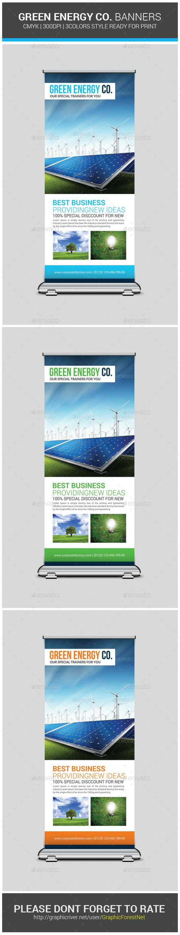 Green Energy Roll Up Banner Template - Signage Print Templates