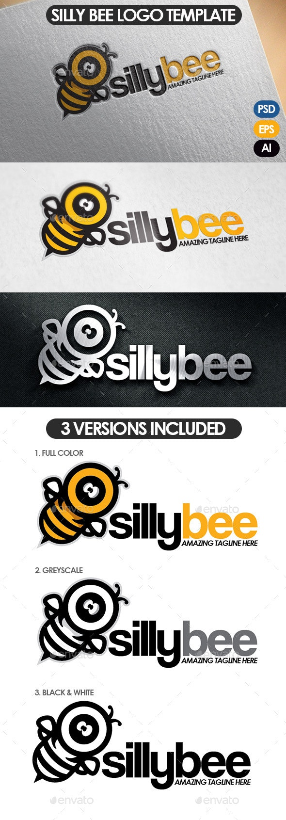 Silly Bee Logo Template - Animals Logo Templates