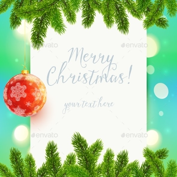 White paper Background with Fir Tree Branches - Christmas Seasons/Holidays