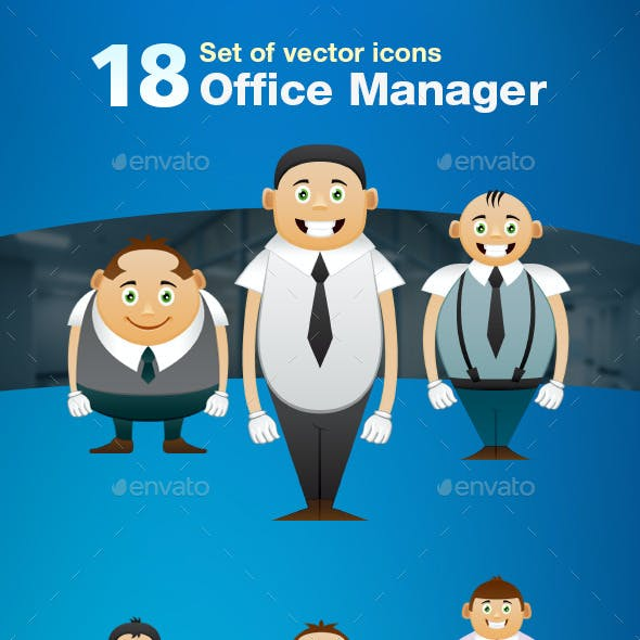 Set of 18 Office Manager Icons