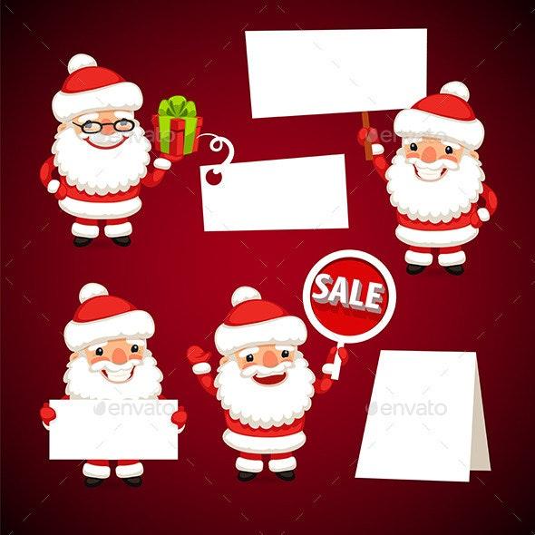 Set of Cartoon Santa Clauses Holding a White Empty - Christmas Seasons/Holidays
