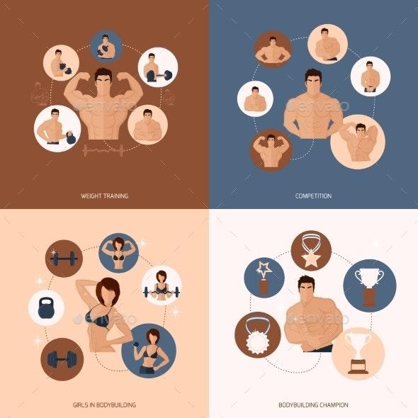 Bodybuilding Fitness Gym Set - Sports/Activity Conceptual