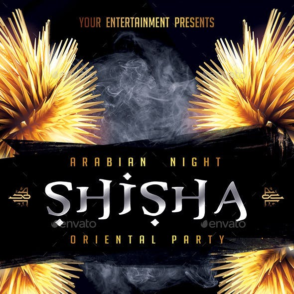 Shisha Hookah Oriental PSD Party Flyer