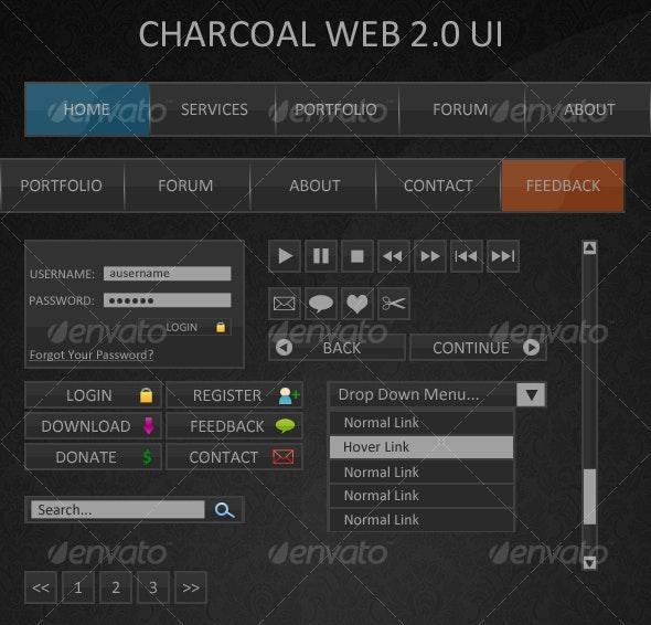 Charcoal Web2.0 UI - Miscellaneous Web Elements