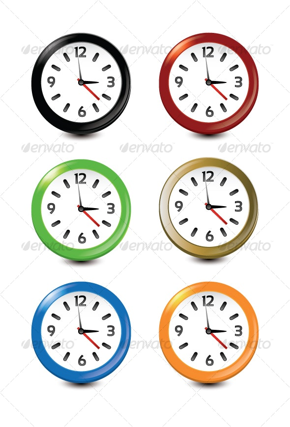 Clock Icons Pack of 6 - Man-made Objects Objects