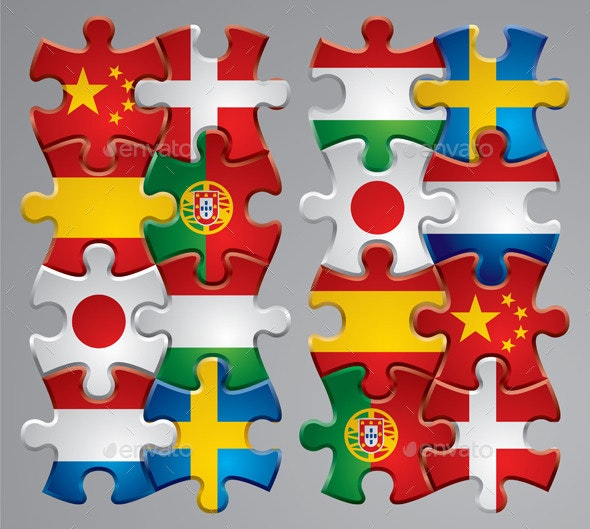 Puzzle Flag Icons  - Borders Decorative