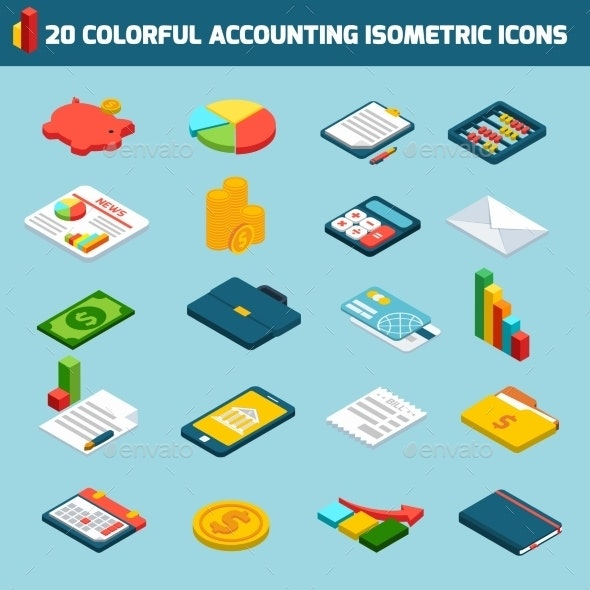 Accounting Icons Isometric Set  - Business Conceptual