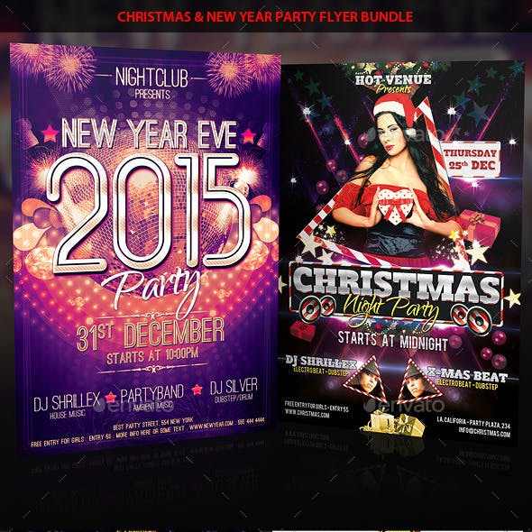 Christmas & New Year Eve Party Flyer Bundle