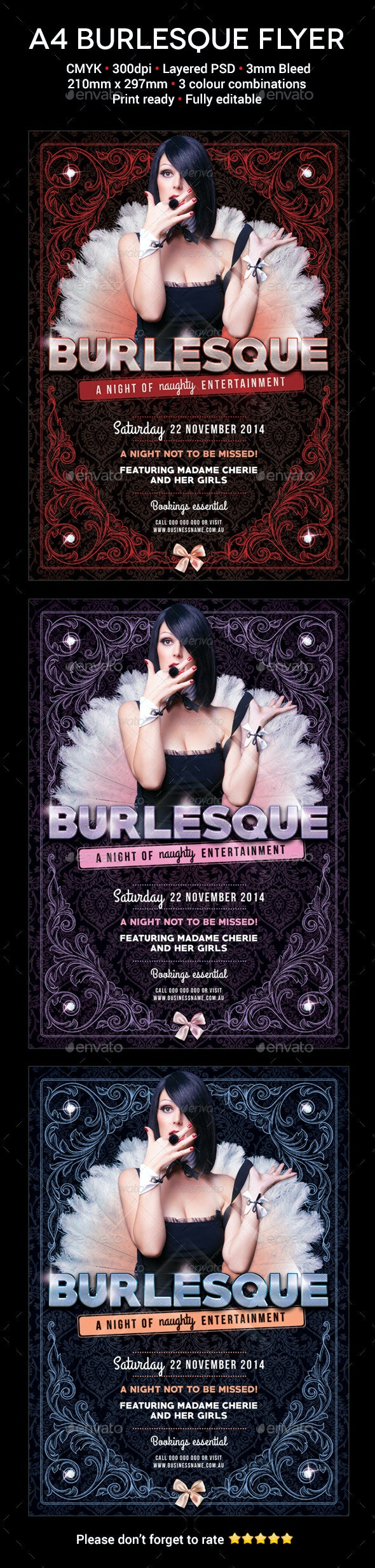 Burlesque A4 Flyer - Flyers Print Templates