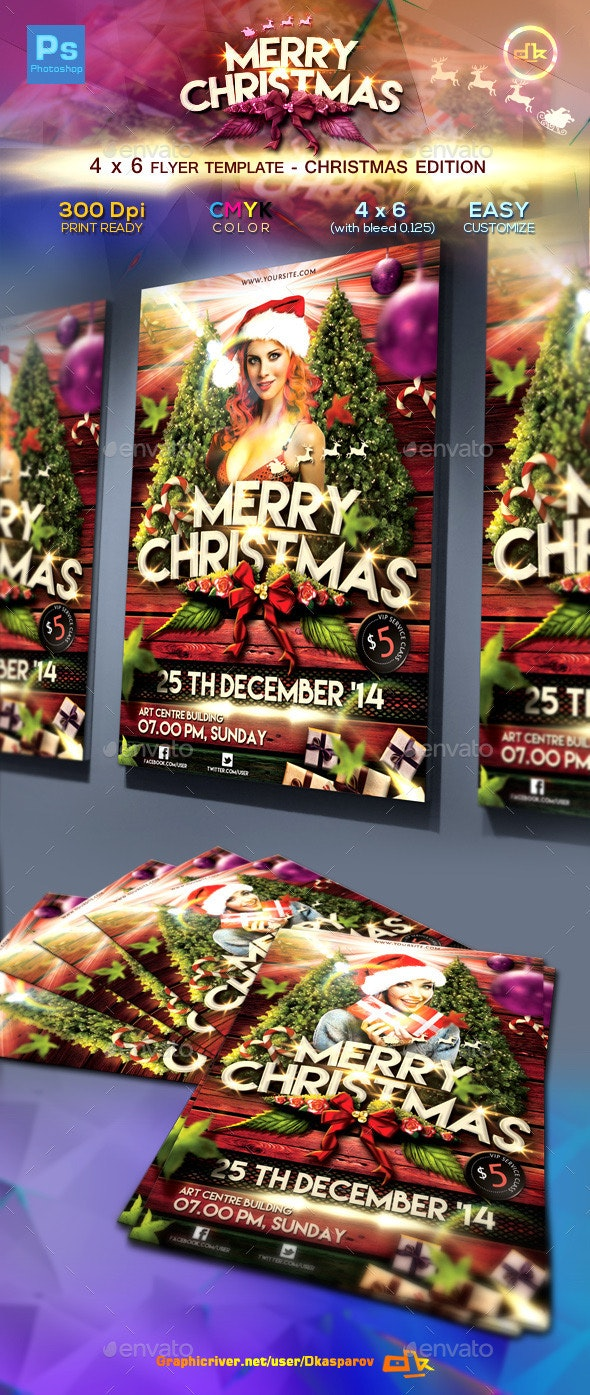 Christmas Flyer Template (4x6) - Holidays Events