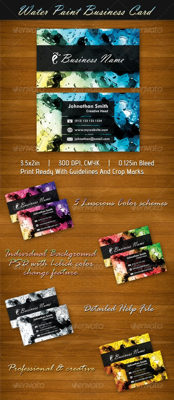Water Paint Business Card - Creative Business Cards