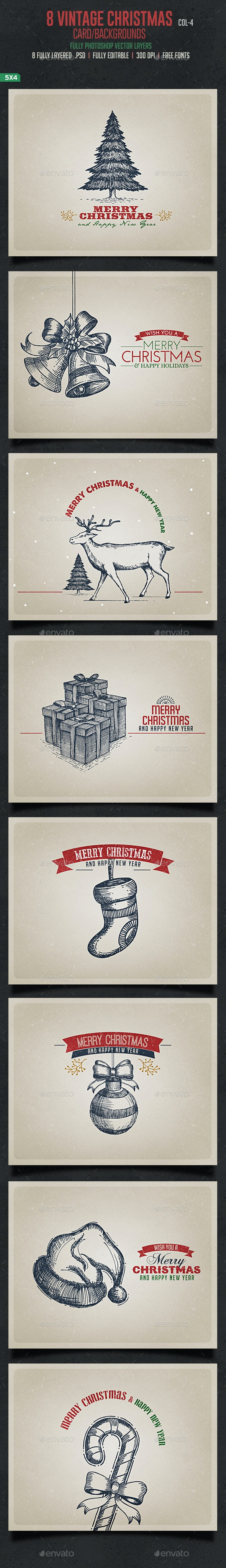 Vintage Christmas Cards / Backgrouds - Backgrounds Graphics