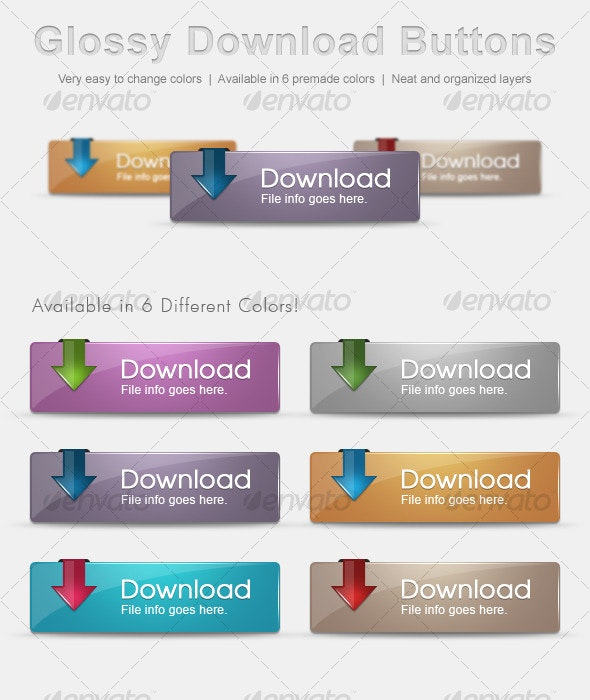 Glossy Download Buttons - Buttons Web Elements