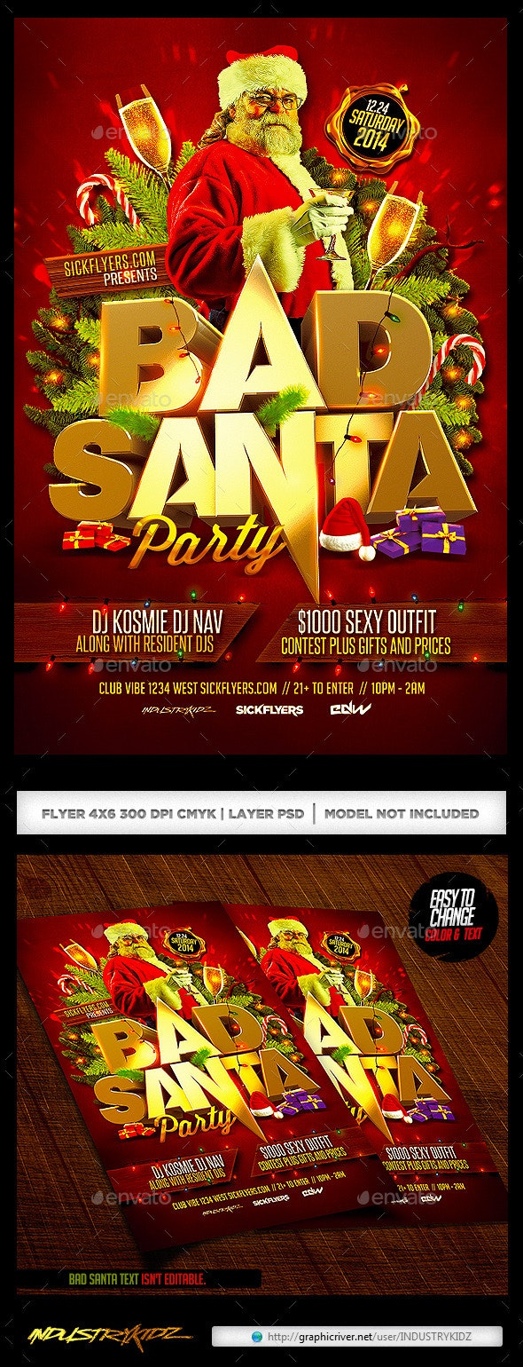 Bad Santa Flyer Template - Holidays Events