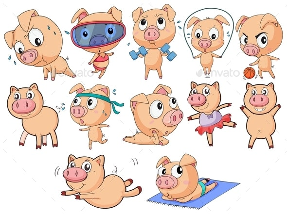 Group of Pigs - Animals Characters