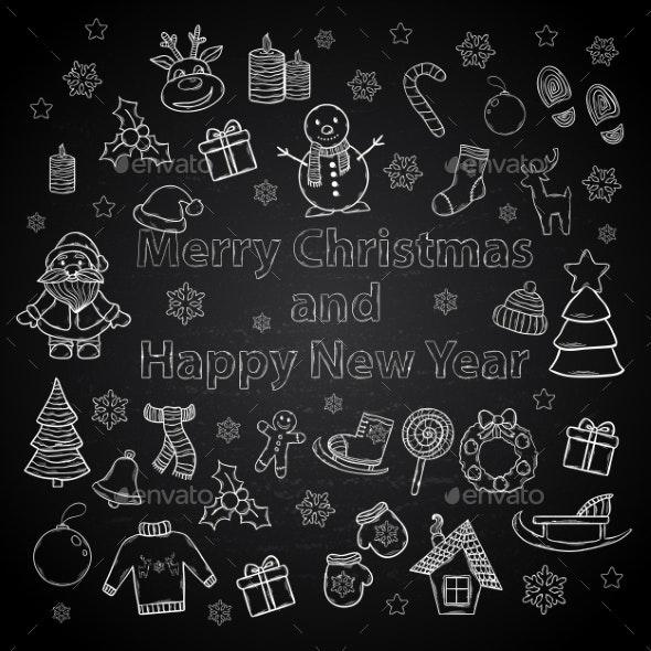 Happy New Year and Merry Christmas Set - Christmas Seasons/Holidays