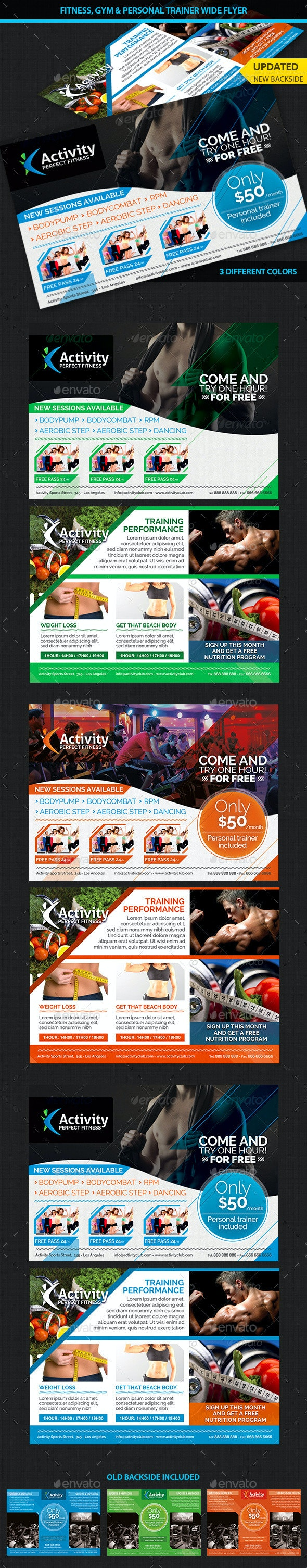 Fitness, Gym & Personal Trainer Wide Flyer - Corporate Flyers