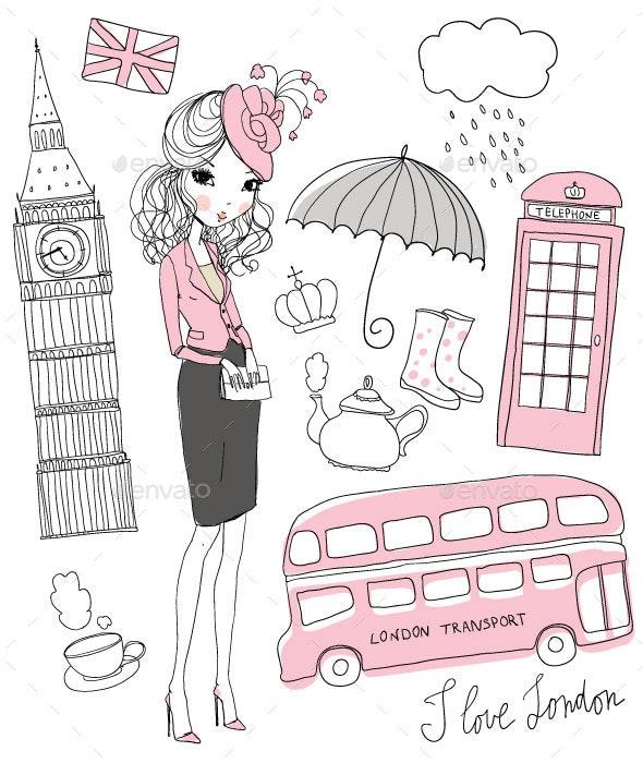 Girl Vector Set of London - Vectors