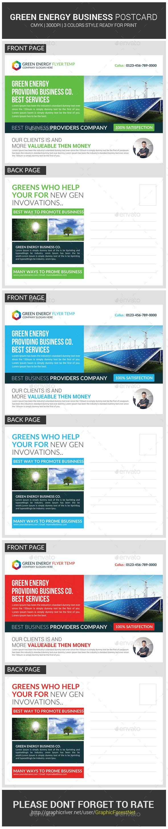 Green Energy Business Postcard Template - Cards & Invites Print Templates