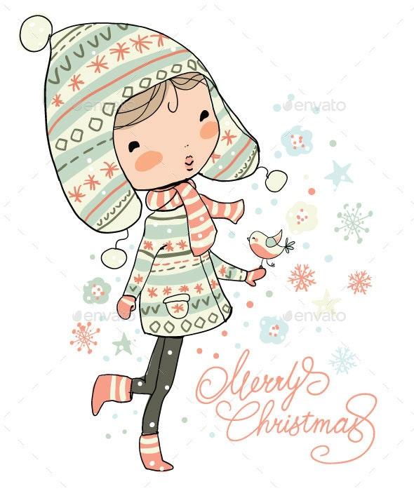 Christmas Girl - Vectors