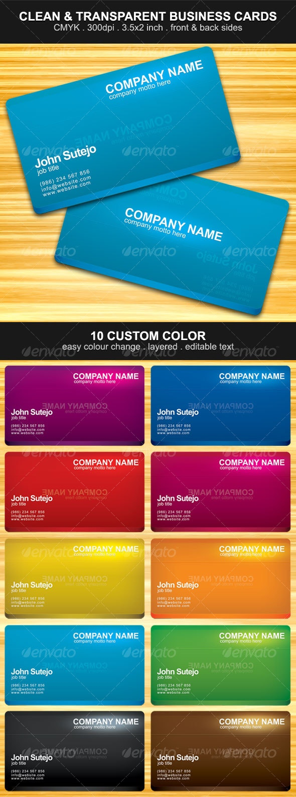 Clean & Transparent Effect Business Card - Business Cards Print Templates