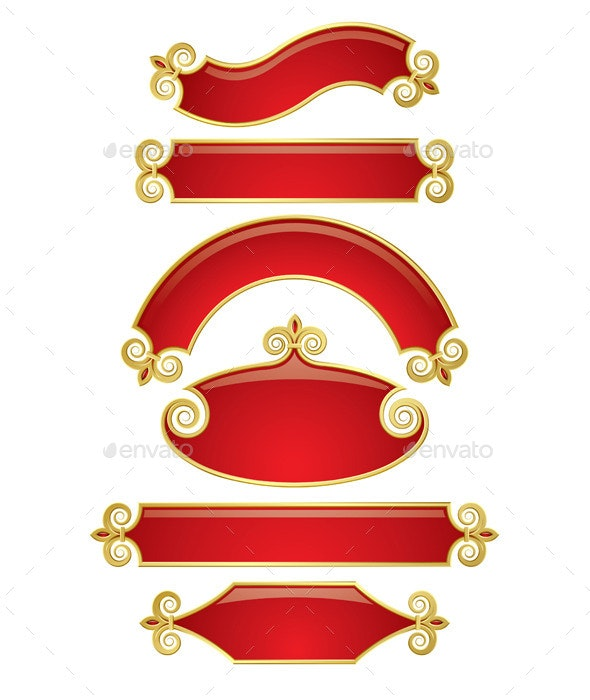 Red-Gold Banners - Borders Decorative