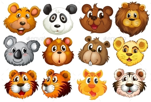 Head of the Different Animals - Animals Characters