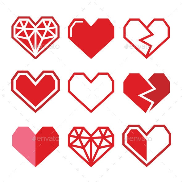 Geometric Red Heart for Valentine's Day Icons  - Valentines Seasons/Holidays