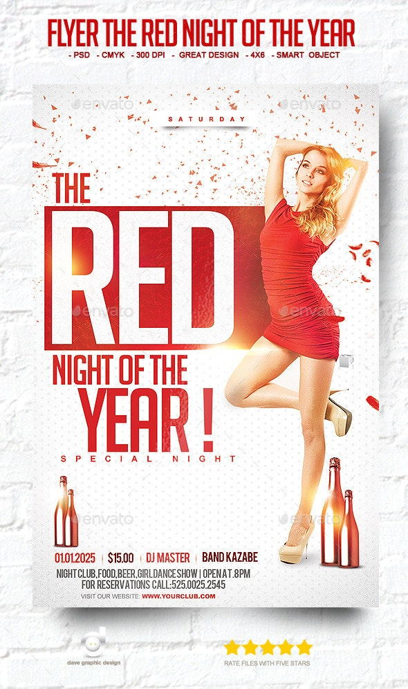 Flyer The Red Night of The Year - Clubs & Parties Events