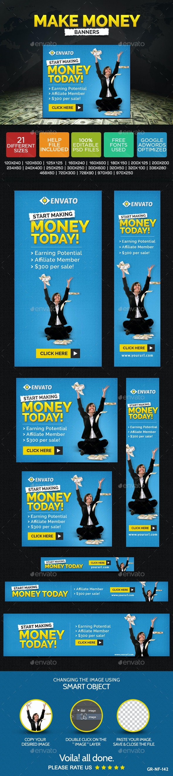 Make Money Banners - Banners & Ads Web Elements