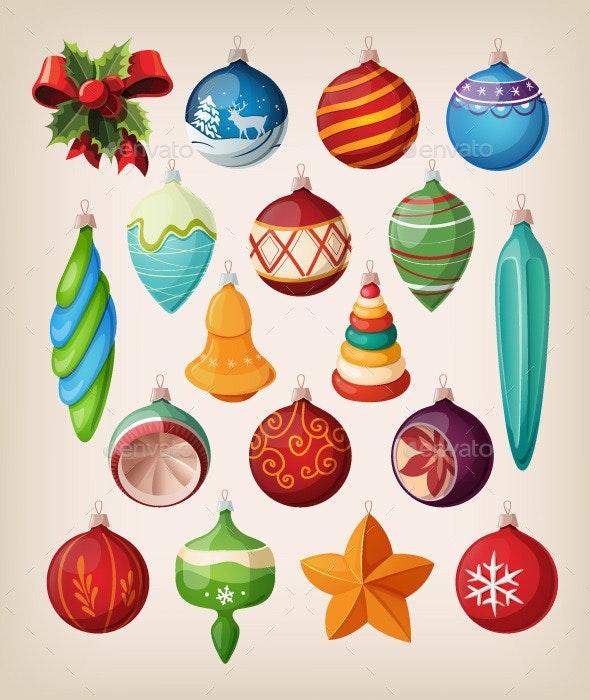 Set of Christmas Balls and Toys - Christmas Seasons/Holidays