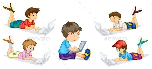 Kids and Laptop - People Characters