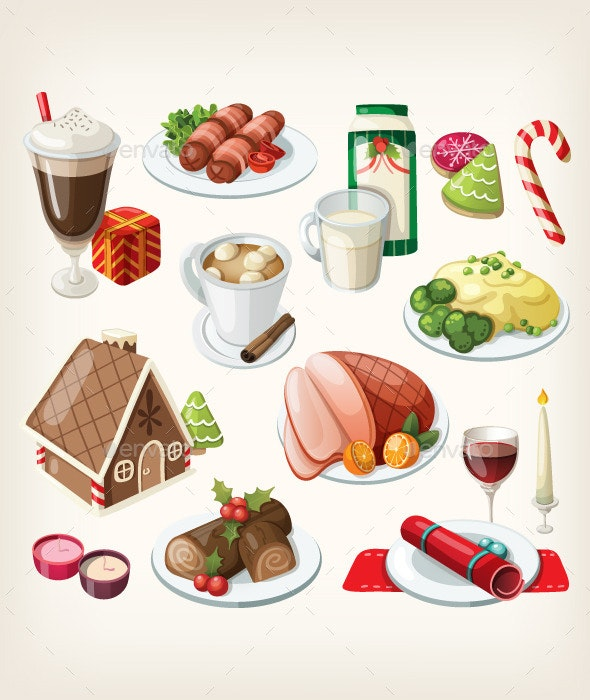 Set of Traditional Christmas Food and Desserts - Food Objects