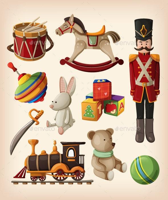 Set of Colorful Vintage Christmas Toys  - Christmas Seasons/Holidays