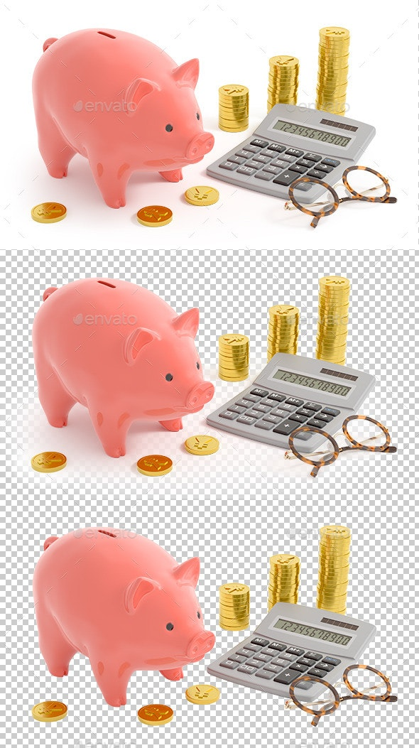 Piggy Bank Accounting (Yen Coins) - Objects 3D Renders