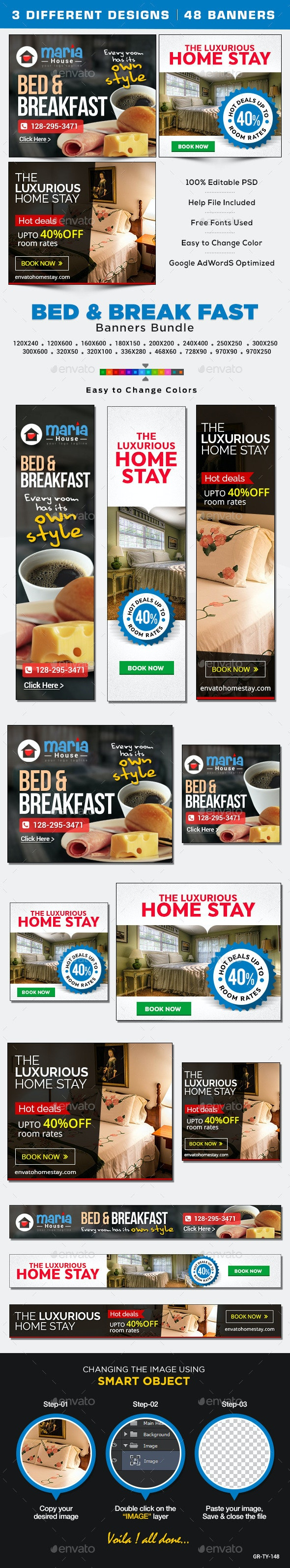 Bed and Breakfast Banners Bundle - 3 Sets - Banners & Ads Web Elements