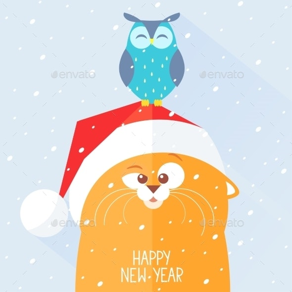 Cat New Year - Animals Characters