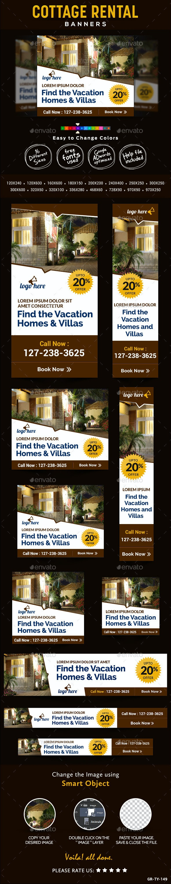 Cottage Rental Banners - Banners & Ads Web Elements